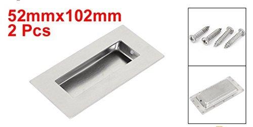 52mmx102mm 304 Stainless Steel Recessed Flush Pull Finger Insert Door Handle 2PCS ()