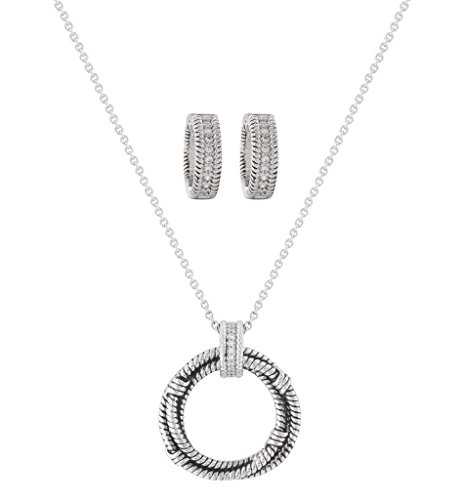 Montana Silversmiths Women's Roped In Brilliance Jewelry Set Silver One Size (Montana Silversmiths Jewelry Set)