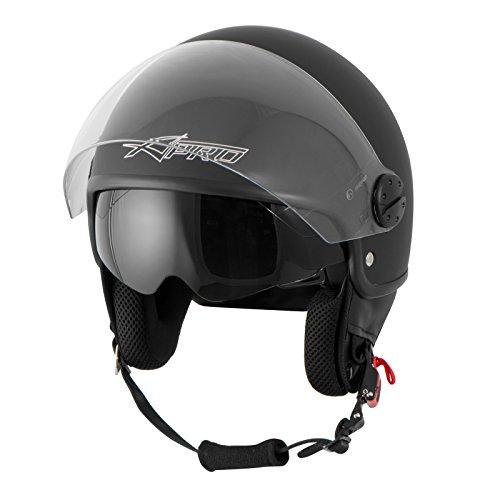 Amazon.es: Jet Casco Moto Scooter ECE 22 Doble Visor Parasol interior Negro Mate 2XL