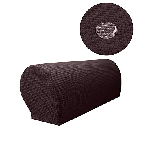 OUSHU Spandex Stretch Armrest Covers for Sofa Anti-Slip Sofa Protector Covers Set of 2 (Coffee-Waterproof) (Oriental Sets Sofa)