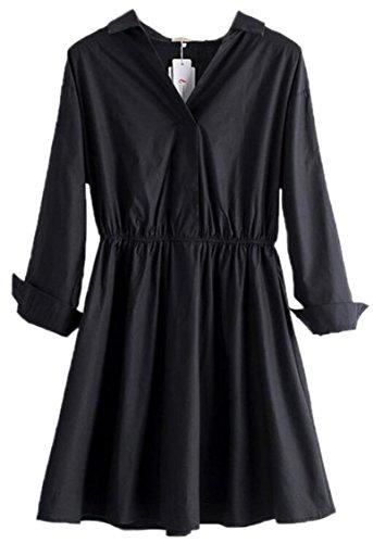 Jaycargogo Manches Longues Couleur Pure Col V Femmes Robes Swing De Taille 1