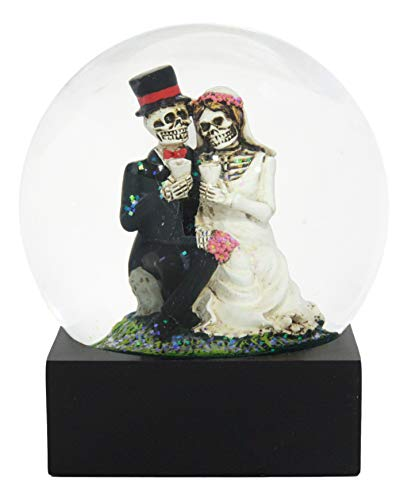 Ebros Love Never Dies Wedding Bride and Groom Skeleton Glitter Water Globe (100mm) As Gothic Anniversary Or Day of The Dead Decor Collectibles Dias De Muertos Tradition Decorative Figurine -