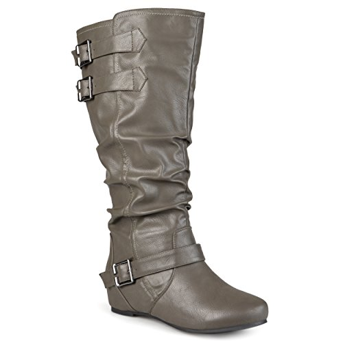 Journee Collection Womens Regular Sized, Wide-Calf and Extra Wide-Calf Buckle Slouch Low-Wedge Boot Grey