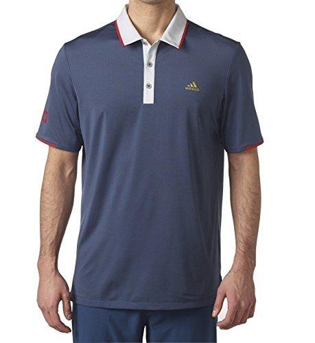 adidas Golf Men's Climacool USA Performance Polo, Mineral Blue/Clear Grey, Medium