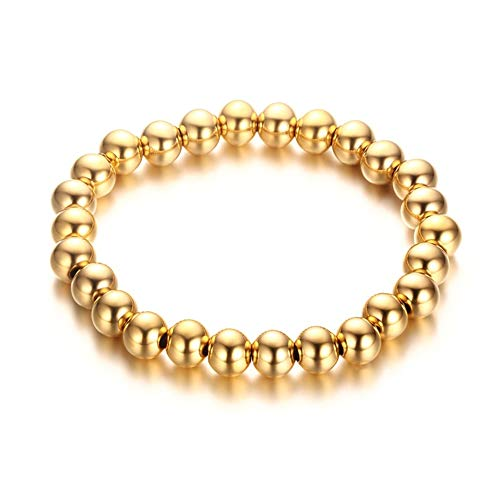 Jaline Stainless Steel Gold-Plated Black Beaded Stretch Bracelet 6mm & 8mm Round Beads (6mm - Gold Beaded Plated Bead