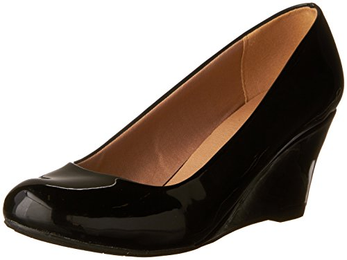 Forever Link Women's DORIS-22 Patent Round Toe Wedge Pumps Black 10