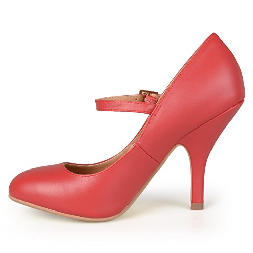 Journee Collectie Dames Patent Ronde Neus Mary Jane Pumps Rood Mat