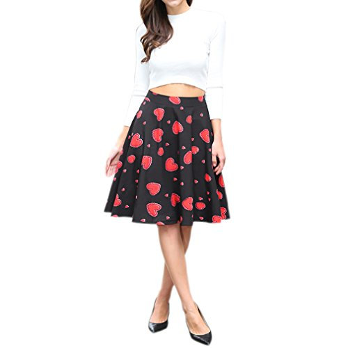 Honghu Elegante Vintage Faldas de la Vendimia para Mujer De Impresión por la rodilla Vestido Rojo