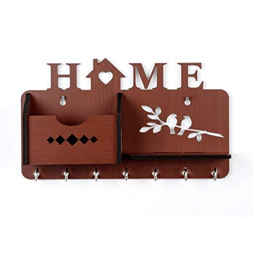 (Sehaz Artworks Home-Side-Shelf-Brown-KeyHolder Wooden Key Holder (7 Hooks) (Brown))