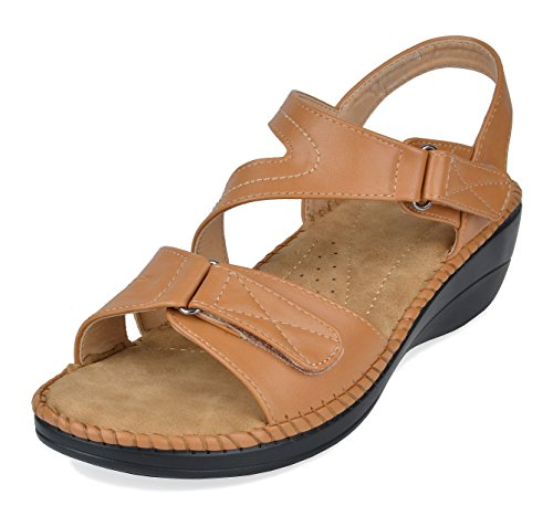 (DREAM PAIRS Women's Truesoft_06 Camel Low Platform Wedges Slingback Comfort Sandals 11 B(M) US)