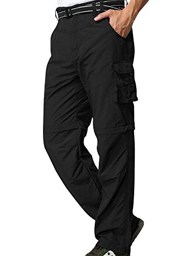 Mens Hiking Convertible Pants Lightweight Zip Off Fishing Safari Outdoor Quick Dry Cargo Work Trousers Black from linlon