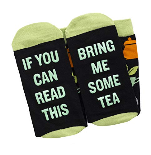(If You Can Read This Bring Me Socks - Beer, Wine, Bacon, Taco, Tea - Funny Socks Novelty Gift - Men & Women (Tea))