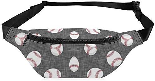 野球-グレーリネン ウエストバッグ ショルダーバッグチェストバッグ ヒップバッグ 多機能 防水 軽量 スポーツアウトドアクロスボディバッグユニセックスピクニック小旅行