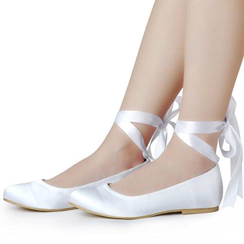 ElegantPark EP11105 Pisos Bailarinas Cerrado raso zapatos de novia Mujer blanco
