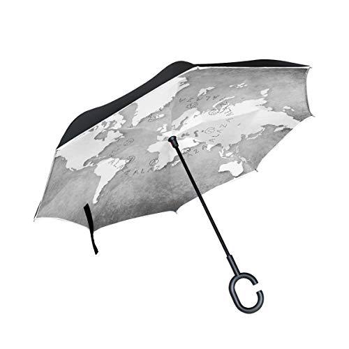 Black Hole Inverted Umbrella Double Layer Windproof UV Protection Compact Car Reverse Umbrella -