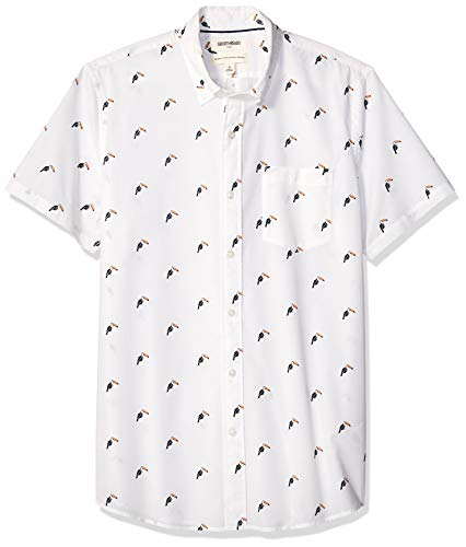 Goodthreads Men's Standard-Fit Short-Sleeve Printed Poplin Shirt, White Toucan Large Tall