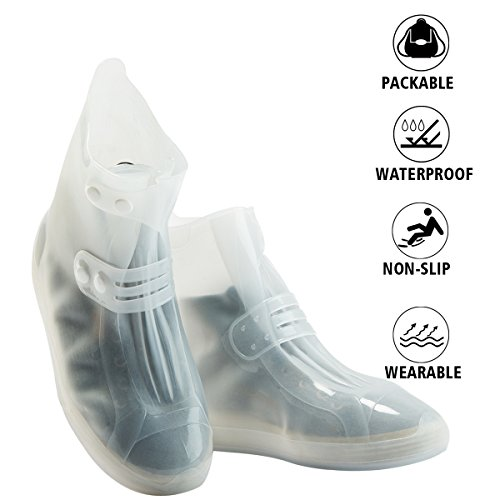 Shoes Cover - Waterproof Reusable Boots Cover Foldable Non-slip Rainstorm Rainy Day Rain Snow Gear Thicken Sole Boots Overshoes for Men Women Kids (Kids, White)