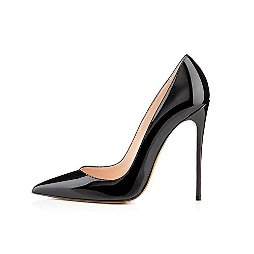 Heel Stiletto High Pointed (Elisabet Tang High Heels, Womens Pointed Toe Slip on Stilettos Party Wedding Pumps Basic Shoes BK 9)