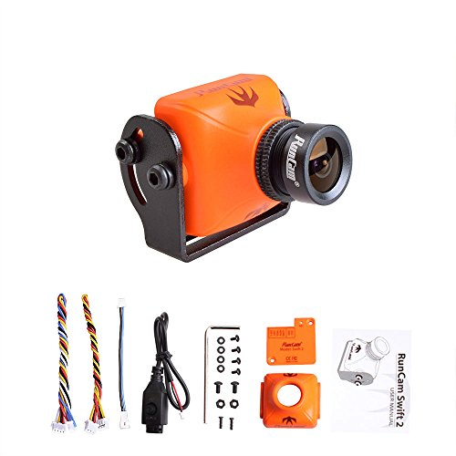 - RunCam Swift 2 600TVL CCD FPV Camera Integrated OSD 2.1mm Lens FOV 165 Degree DC 5-36V Support Audio IR Blocked NTSC with Mount for Multicopter (Orange)