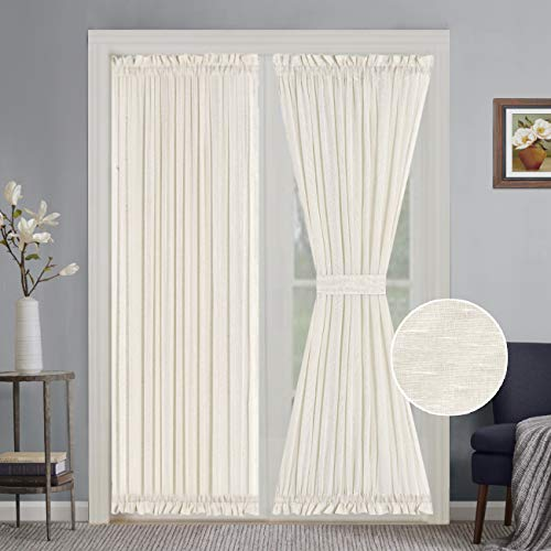 Turquoize High Class Linen Poly Blended French Door Curtains Light Filtering Curtain Solid Rod Pocket Panels for Glass Door - 52 by 72 - Inches - Natural - 2 Panels