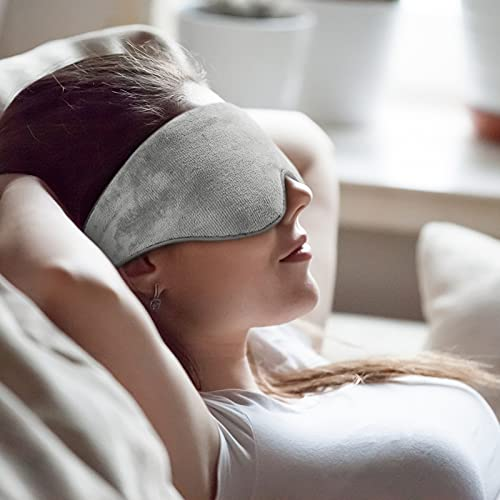 Kivik Weighted Sleep Mask for Men Women Adjustable Strap,Cooling Heat Therapy Compression Pain Relief Sleeping Blindfold with Silica Beads Bag Eye Pillow for Travel Yoga Nap,Gray