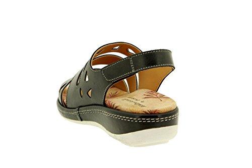 Komfort Damenlederschuh Piesanto 8907 sandale klettverschluss herausnehmbaren einlegesohlen bequem breit Schwarz