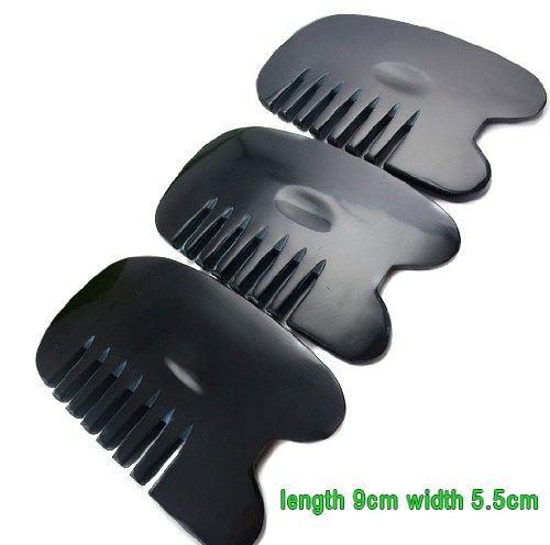 Crazycity Natural Horn Gua Sha(GuaSha) Massage Comb Six Tooth Comb Scraping Horn Comb