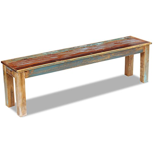 Festnight Reclaimed Wood Bench Handmade Dining Bench Home Garden Furniture for Both Indoor Outdoor Use (63