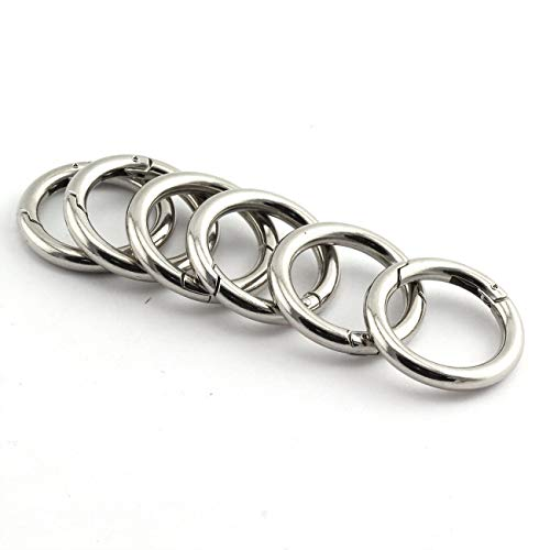 JCBIZ 6pcs 35mm Round Spring Snap Hooks Clip DIY Accessories for Handbag Purse Shoulder Strap Key Chains Buckle Zinc Alloy Circle Round Metal Spring Key Ring Silver