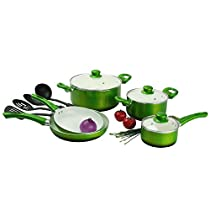 12 Piece Green Cookware Set, Aluminum Ceramic Material, Non-stick Interiors, With Glass Lids, Oven Safe, Dishwasher Safe, Easy Cleanup, Riveted Stay-Cool, Set For a Fresh & Healthy Cooking