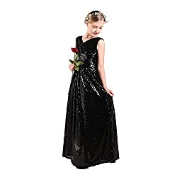 Long Sequin Flower Girl Maxi Dress