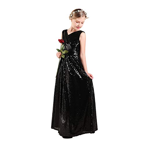 Girls Sequin Dress Black, Long Junior Bridesmaid Dress for Flower Girl, Wedding Party Dresses for Girls 10t