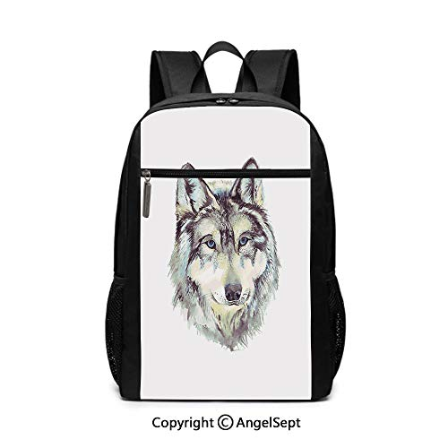 - Large Capacity School Backpack,Hand Drawn Style Canine Portrait with Blue Eyes Watercolor Wildlife Illustration Decorative,Pale Green Umber,6.5