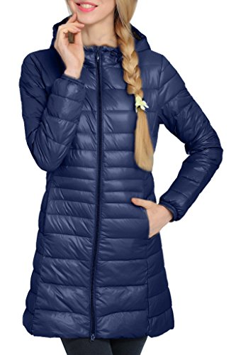 Women's Hooded Packable Down Puffer Coat Lightweight Stylish Down Winterbreaker Navy US Large(Asian 3XL)