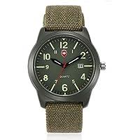 J.Market Quartz Watch Mens Canvas Waterproof Quartz Fashionable Men Watch with Date Function with Canvas Band (Green)