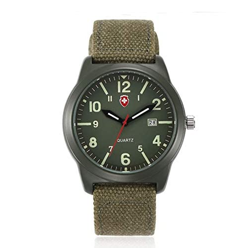 J.Market Quartz Watch Mens Canvas Waterproof Quartz Fashionable Men Watch with Date Function with Canvas Band (Green)