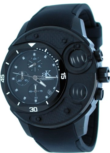 Adee Kaye #AK8000-MIPB Men's Black IP Carbon Fiber Top Spring Pusher Chronograph Watch