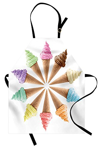 - Ambesonne Ice Cream Apron, Cones with Various Flavors Forming a Stylish Row Summer Season Picture Print, Unisex Kitchen Bib Apron with Adjustable Neck for Cooking Baking Gardening, Multicolor