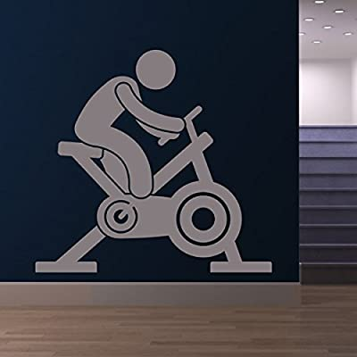 azutura Exercise Bike Wall Sticker Athletics Fitness Wall Decal Sports Gym Home Decor available in 5 Sizes and 25 Colours