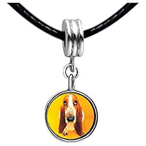 Chicforest Silver Plated Basset Hound Dog Photo Light Amethyst Crystal June Birthstone Flower dangle Charm Beads Fits Pandora Bracelets