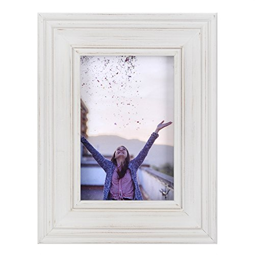 (RPJC 4x6 Picture Frames Made of Solid Wood High Definition Glass for Table Top Display and Wall mounting photo frame White )