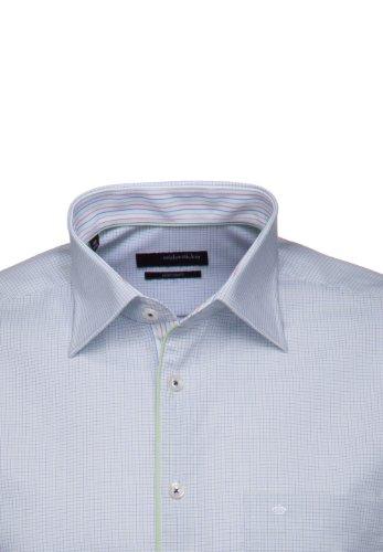 Seidensticker Hemd Splendesto Regular Fit weiß / grün / blau kariert mit Patch Gr. 39 - 46 / 186156.72