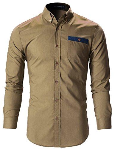 (FLATSEVEN Mens Slim Fit Stunning Design Casual Oxford Shirts (SH143) Beige, M)