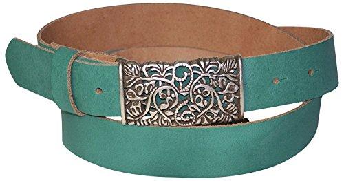 Silver Floral Belt (FRONHOFER Women's genuine leather belt, beautiful floral silver buckle, 1.2'/3cm, Size:waist size 37.5 IN L EU 95 cm,)
