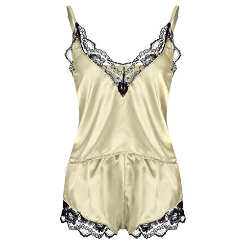 VICCKI 2PC Lingerie Women Lace Babydoll Nightdress Nightgown Sleepwear Underwear Set Yellow