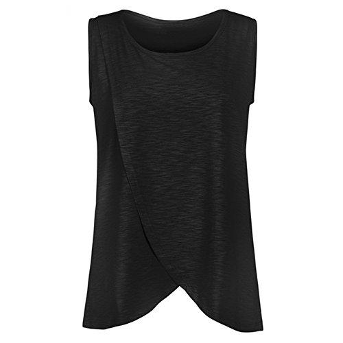 Serzul Women's Maternity Nursing Wrap Tops Cap Sleeveless Double Layer Blouse T Shirt (XL, Black) (Empire Waist Maternity Cardigan)