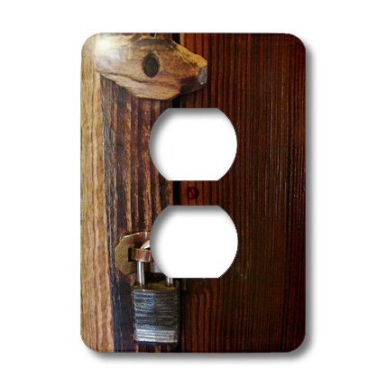 3dRose lsp_26510_6 Old Wooden Lock 2-Plug Outlet Cover by 3dRose (Image #1)