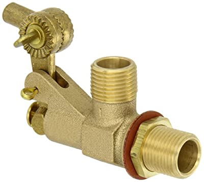 "Robert Manufacturing R700L Series Bob Red Brass Tank Wall Mounted Bulkhead Float Valve with Locknut and Gasket, 1/2"" NPT Male Straight Inlet x 1/2"" NPT Male Outlet, 22 gpm at 85 psi Pressure from Control Devices"