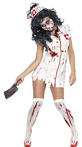 Smiffy's Women's Zombie Nurse Costume, Dress, Mask and Headpiece, National Horror Service, Halloween, Size 14-16, 34132