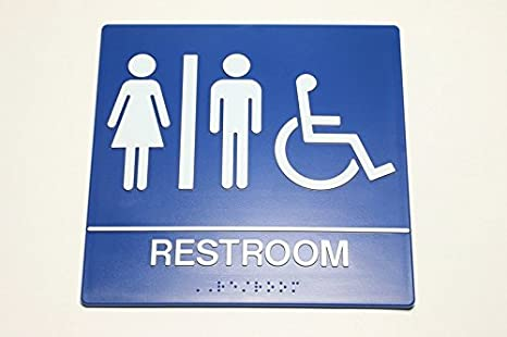 Amazoncom All Gender Handicap Bathroom Sign For Wall Federal - Handicap bathroom sign